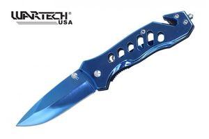 Spring-Assist Folding Knife Wartech Blue Mirror Blade Rescue Edc - 6.5