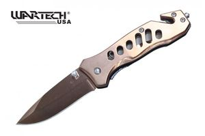 Spring-Assist Folding Knife Wartech Copper Mirror Blade Rescue EDC 6.5