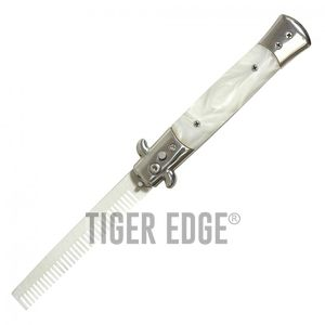 Novelty Comb | Automatic Switchblade Stiletto Knife White Pearl Handle