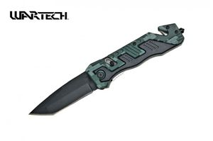 Spring-Assist Folding Knife Wartech Rescue Black Tanto 3.5