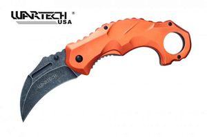 Spring-Assisted Folding Knife Wartech Orange Tactical Karambit Stone Gray Blade