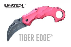 Spring-Assisted Folding Knife | Wartech Red Tactical Karambit Stone Gray Blade