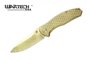 Spring-Assisted Folding Knife Wartech Gold Tactical Blade EDC Titanium-Coated A