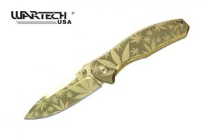 Spring-Assisted Folding Knife Wartech Gold Tactical Blade EDC Cannabis Marijuana