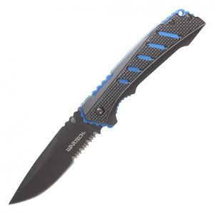 Spring-Assisted Folding Knife | Wartech Black Blue Tactical EDC 3.5