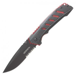 Spring-Assisted Folding Knife | Wartech Black Red Tactical Edc 3.5