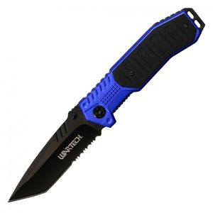 Spring-Assisted Folding Knife | Wartech Black Tanto Serrated Blade Tactical Blue