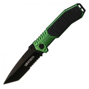 Spring-Assisted Folding Knife Wartech Black Tanto Serrated Blade Tactical Green