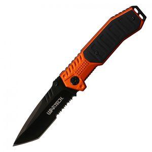 Spring-Assisted Folding Knife Wartech Black Tanto Serrated Blade Tactical Orange