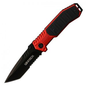 Spring-Assisted Folding Knife Wartech Black Tanto Serrated Blade Tactical Red