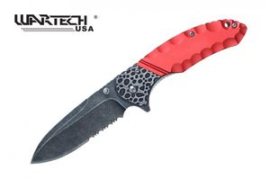 Spring-Assisted Folding Knife | Wartech Black Serrated Blade Tactical Red 227RD