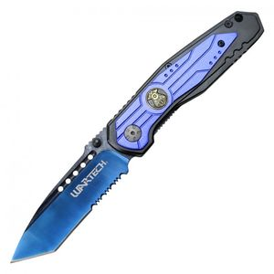 Spring-Assisted Folding Knife Wartech Black Tanto Serrated Blade Blue Police Leo