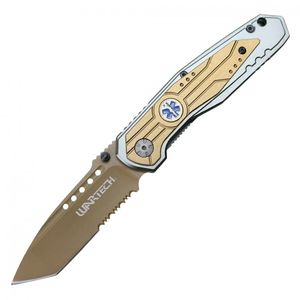 Spring-Assisted Folding Knife Wartech Gold Tanto Serrated Blade Emt Paramedic