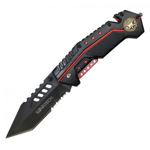 Spring-Assisted Folding Knife Black Tanto Serrated 3.5