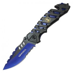 Spring-Assisted Folding Knife Blue Serrated 3.8