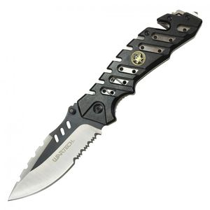 Spring-Assisted Rescue Folding Knife Camo Serrated 3.8