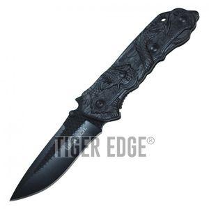 Spring-Assist Folding Pocket Knife   Wartech Black Blade Steel Dragon Tactical
