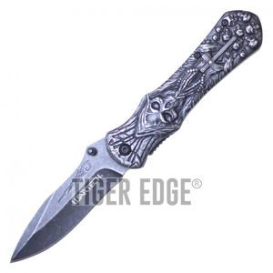 Spring-Assist Folding Pocket Knife Wartech Stone Catholic Cross Grim Reaper EDC