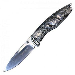 Spring-Assist Folding Pocket Knife Wartech Chrome Silver Unicorn EDC 3.5