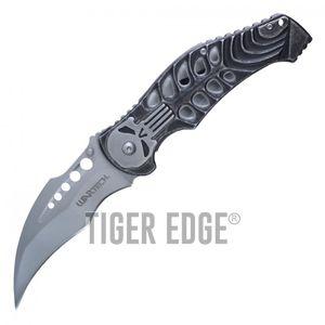 Spring-Assist Folding Pocket Knife Wartech Silver Skull Skeleton Hawkbill Blade