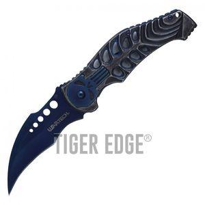 Spring-Assist Folding Pocket Knife Wartech Blue Skull Skeleton Hawkbill Blade