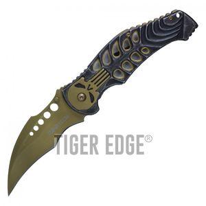 Spring-Assist Folding Pocket Knife Wartech Gold Skull Skeleton Hawkbill Blade