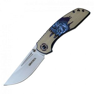 Spring-Assisted Folding Pocket Knife | Samurai Warrior Blue Gray Blade Tactical