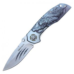Spring-Assist Folding Knife | Silver Tiger Claw Pocket Hunting EDC PWT263SL