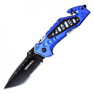 Spring-Assist Folding Knife | Wartech Black Tanto Serrated Blade Blue Camo Edc