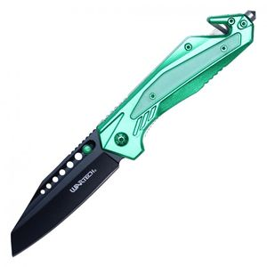 Spring-Assist Folding Knife | Green Tactical Rescue Blade Glass Breaker PWT318BL