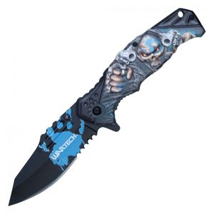 Spring Assisted Folding Pocket Knife | Blue Black Skull Pistol Gangster Pwt321Bl