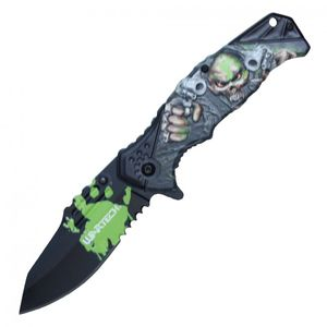 Spring Assisted Folding Pocket Knife | Green Black Skull Pistol Gangster Pwt321