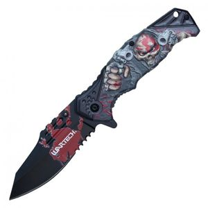 Spring Assisted Folding Pocket Knife | Red Black Skull Pistol Gangster Pwt321Rd