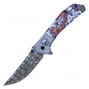 Spring Assisted Folding Pocket Knife | Japanese Demon Damascus Etch PWT322B
