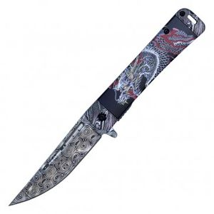 Spring Assisted Folding Pocket Knife | Japanese Dragon Damascus Etch Pwt323B
