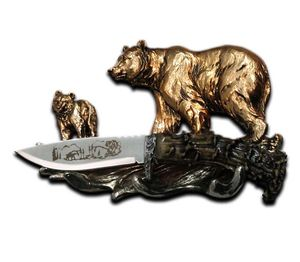 Hunting Knife | Majestic Bear Display - Stainless Steel Blade