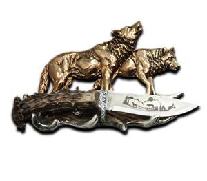 Hunting Knife | Prowling Wolf Pack Display - Stainless Steel Blade