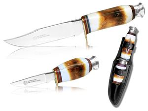 Hunting Knife Set | Stag Bone Handle Mirror Finish Blade Skinner 2 Pc. + Sheath