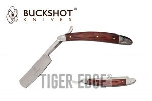 Straight Razor | Barber Shaving Blade Brown Wood Inlay Handle