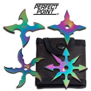 Four Piece (4) Rainbow Classic Throwing Star Set 2.5 Diameter Anime Knife