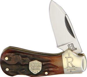 Folding Pocket Knife | Rough Rider Brown Stag Bone Handle Classic Cub Lockback