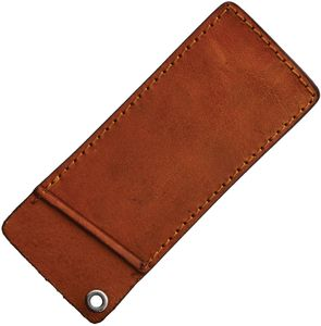 Folding Knife Sheath | Rough Ryder Brown Leather Slip Pouch - Fits 4.5