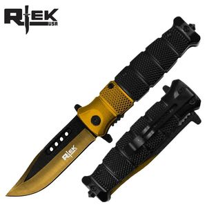 Spring-Assist Folding Knife Gold Black Blade Tactical Glass Breaker 4.5