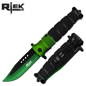Spring-Assist Folding Knife Green Black Blade Tactical Glass Breaker 4.5