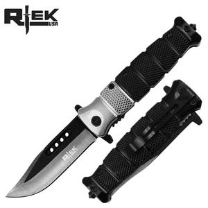 Spring-Assist Folding Knife Silver Black Blade Tactical Glass Break 4.5