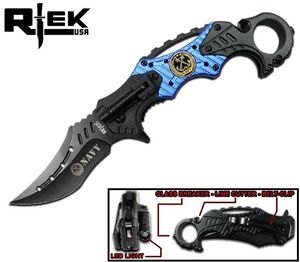 Spring-Assist Folding Knife | Black Blue Navy Tactical Karambit Rescue RT-4501