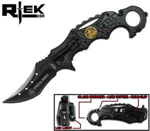 Spring-Assist Folding Knife | Black Special Forces Tactical Karambit RT-4501-SF
