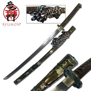 JAPANESE SAMURAI SWORD KATANA | Ryumon Handforged Damascus Steel Ray Skin Handle