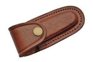 Folding Pocket Knife Belt Sheath | Brown Leather - Fits 4