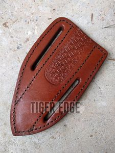 Fixed-Blade Knife Belt Sheath | Brown Leather  - Fits Up To 6